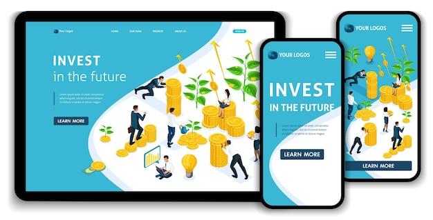 Website-landingpage isometrische konzeptinvestitionen in die zukunft, investoren tragen geld zur anlagegruppe, gewinnwachstum. einfach zu bearbeiten und anzupassen, anpassungsfähige benutzeroberfläche.