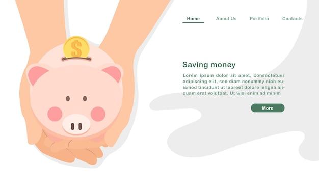 Website-landingpage-vorlage, die geld-cartoon-hand spart, die ein geldschwein hält
