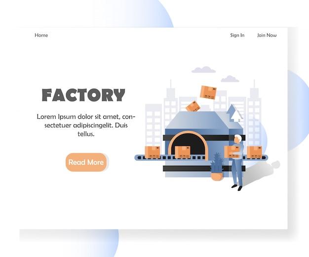 Website-landingpage-vorlage für die fabrik