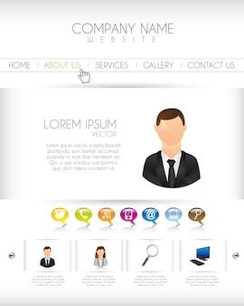 Website mit ikonen und knopfvektorillustration