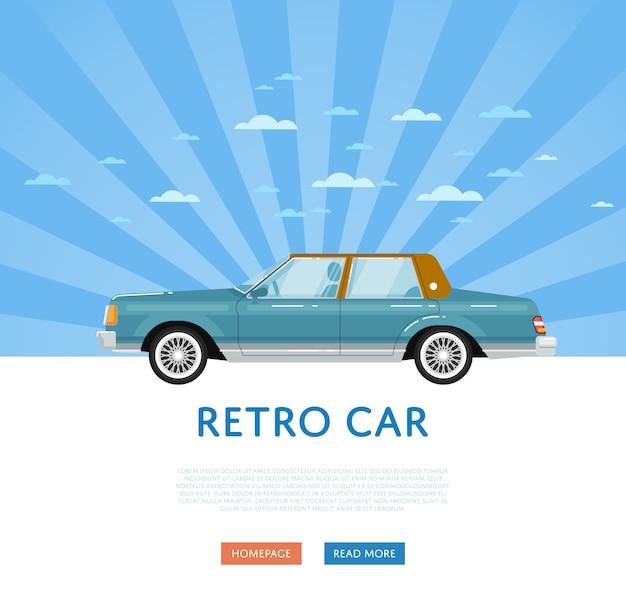 Website mit klassischer retro-limousine