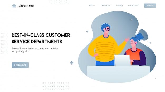 Website- oder landingpage-design, illustration des mannes sprechend mit der frau, die an laptop für erstklassige kundendienstabteilungen arbeitet.