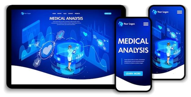 Website-template-design. medizinische analyse des isometrischen konzepts, ärzte arbeiten an virtuellen bildschirmen. landingpage für webdesign. einfach zu bearbeiten und anzupassen, anpassungsfähige benutzeroberfläche.