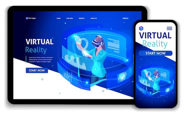 Website-vorlage business. isometrisches konzept geschäftsfrau arbeit, augmented reality, zeitmanagement. einfach zu bearbeiten und anzupassen, responsive