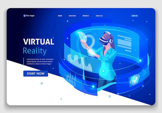 Website-vorlage business. isometrisches konzept geschäftsfrau arbeit, augmented reality, zeitmanagement. einfach zu bearbeiten und anzupassen