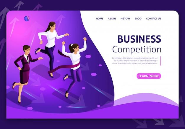 Website-vorlage business. isometrisches konzept. nach möglichkeiten suchen. geschäftskonzeptführung und teamwork. einfach zu bearbeiten und anzupassen weißer hintergrund