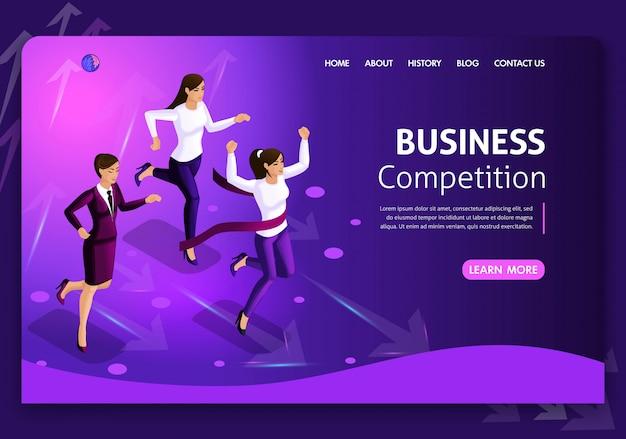 Website-vorlage business. isometrisches konzept. nach möglichkeiten suchen. geschäftskonzeptführung und teamwork. einfach zu bearbeiten und anzupassen