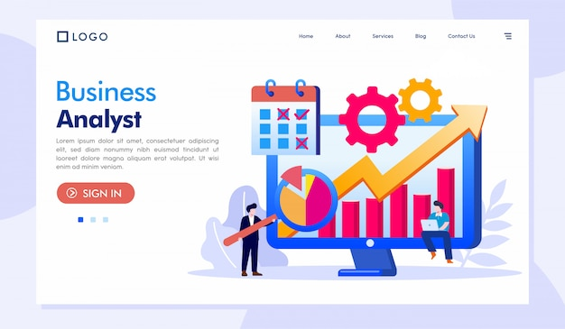 Website-vorlage für business analyst landing page