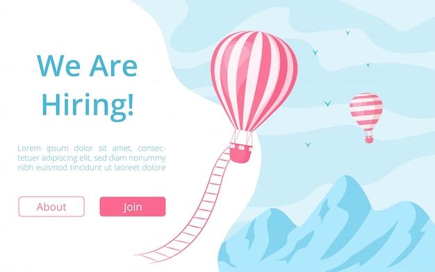 Website-vorlage für das einstellungsangebot für heißluftballons