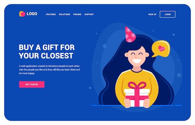 Website-vorlage für diejenigen, die ein geschenk wollen. mädchen, das ein geschenk und ein lächeln hält. geburtstagsparty