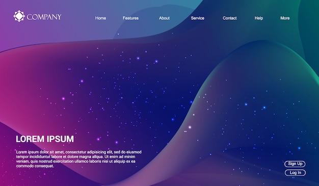 Website-vorlage für websites oder apps. flüssigkeit flüssigkeit wellen gradienten minimal modern