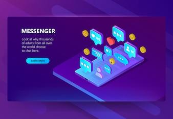 Website-Vorlage für Messenger, Chat