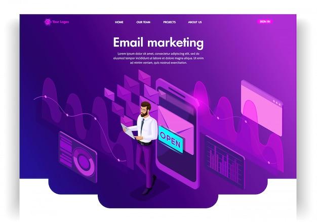 Website-vorlage. isometrisches konzept e-mail-posteingang elektronische kommunikation. e-mail-marketing, marktforschung. einfach zu bearbeitende landingpage ui ux
