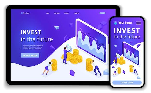 Website-vorlage landing page isometrisches konzept investment management, geschäftsleute tragen geld, um zu investieren. einfach zu bearbeiten und anzupassen, reaktionsschnell.