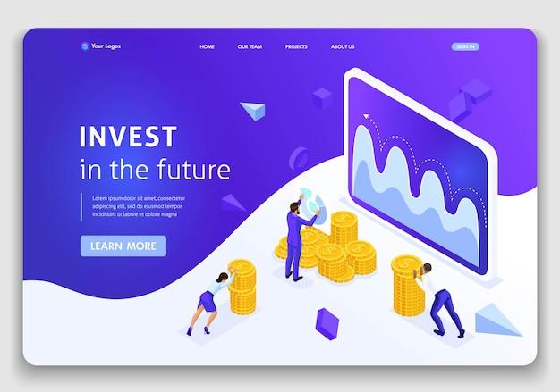 Website-vorlage landing page isometrisches konzept investment management, geschäftsleute tragen geld, um zu investieren. einfach zu bearbeiten und anzupassen.