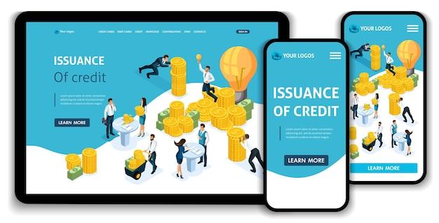 Website-vorlage landing page isometrisches konzept kreditvergabe, kundenservice in der bank, servicehalle, bank clints. einfach zu bearbeiten und anzupassen, anpassungsfähige benutzeroberfläche.
