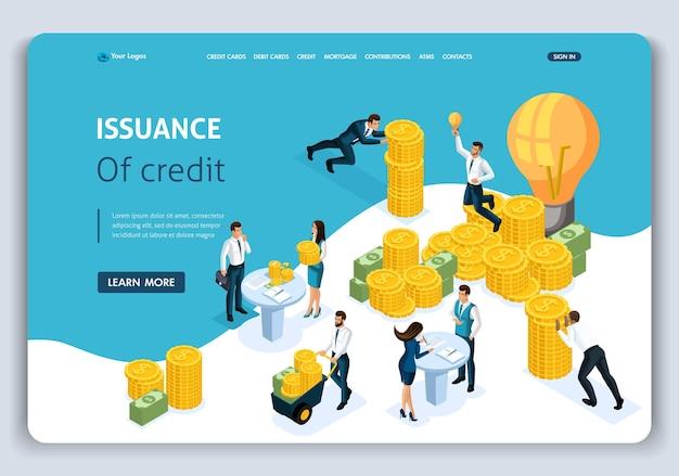 Website-vorlage landing page isometrisches konzept kreditvergabe, kundenservice in der bank, servicehalle, bank clints. einfach zu bearbeiten und anzupassen.