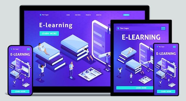 Website-vorlage landingpage isometrische konzeptbibliothek, e-learning, bildung, medienbibliothek oder webarchiv. einfach zu bearbeiten und anzupassen, anpassungsfähige benutzeroberfläche.