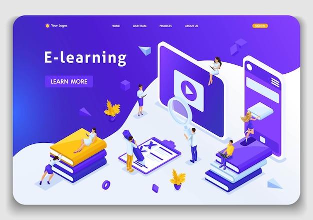 Website-vorlage landingpage isometrische konzeptbibliothek, enzyklopädie, e-learning, bildung, mediathek oder webarchiv. einfach zu bearbeiten und anzupassen.