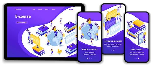 Website-vorlage landingpage isometrische konzeptsuche für die besten e-kurse, online-lernprozess. einfach zu bearbeiten und anzupassen, adaptive benutzeroberfläche.