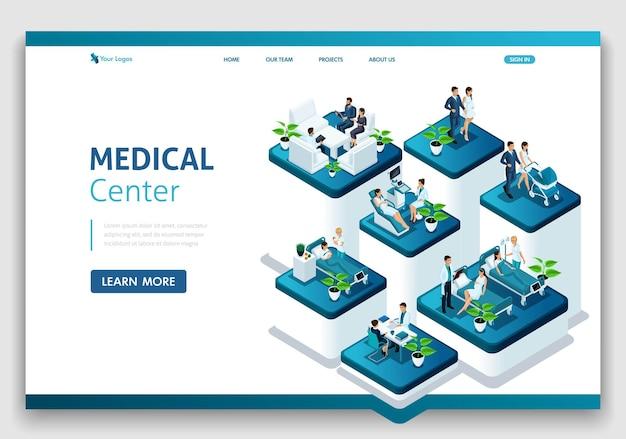 Website-vorlage landingpage isometrisches konzept der krankenhausarbeit, entbindungsstation, arbeit mit patienten, ärzten und chirurgen. einfach zu bearbeiten und anzupassen.