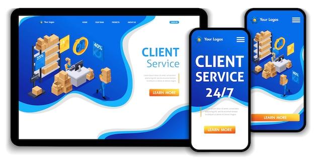 Website-vorlage landingpage isometrisches konzept kundenservice, hotline-betreiber, globaler technischer support 24 7. einfach zu bearbeiten und anzupassen, anpassungsfähige benutzeroberfläche.