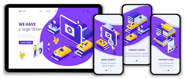Website-vorlage landingpage isometrisches konzept wählen sie das richtige buch in unserer bibliothek für ihr e-learning, ihre ausbildung. einfach zu bearbeiten und anzupassen, adaptiv.