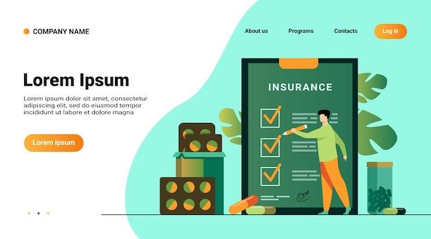 Website-vorlage, landingpage mit illustration des krankenversicherungsvertrags. mann, der versicherungsliste unter medikamenten und krankenhauspillen studiert