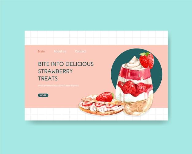 Website-vorlage mit erdbeer-back-design für internet, online-community und werbung aquarell illustration