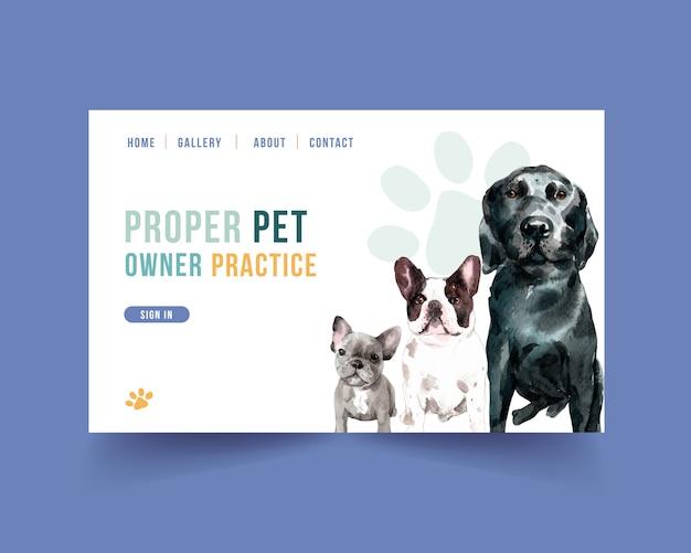 Website-vorlage mit hunden