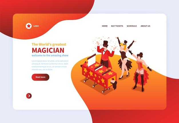 Website-vorlage mit isometrischem magier zeigt, gruppe von magiern während ihrer leistung