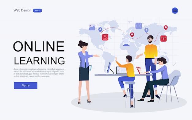 Website-vorlage online-bildung, schulungen und kurse.