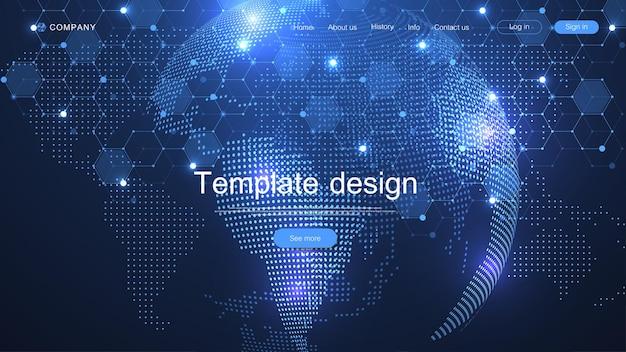 Website-vorlagen-design mit weltkartenpunkt- und linienkomposition. vektor-illustration