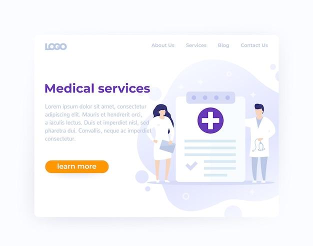 Website-vorlagendesign für medizinische dienste, vektor