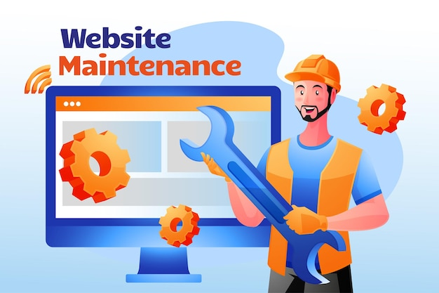 Website-wartungssystem aktualisiert website-entwicklungskonzept