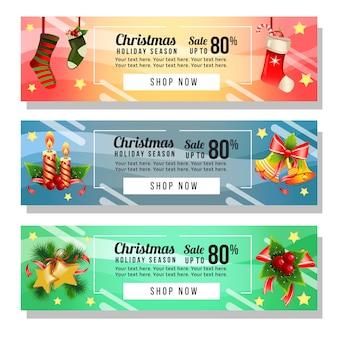 Website-weihnachtsdekoration mit drei weihnachtsfahnen