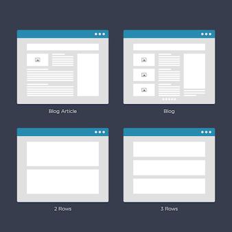 Website wireframe layouts ui-kits für site map und ux design