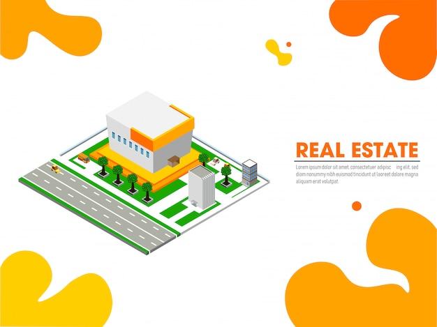 Website-zielseite mit isometrischer ansicht von immobilien.