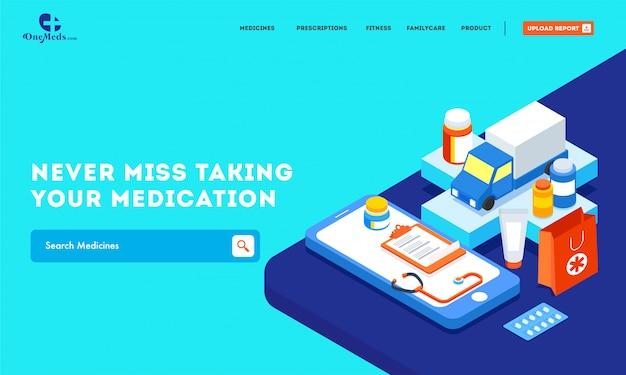 Websitefahne mit unterschiedlicher medizinischer ausrüstung