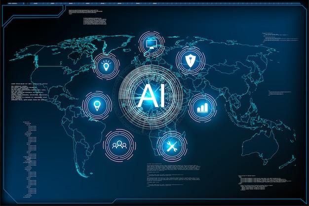 Websiteschablone für ai-maschinentiefes lerntechnologie-science-fiction-konzept. zielseite der künstlichen intelligenz der illustration.