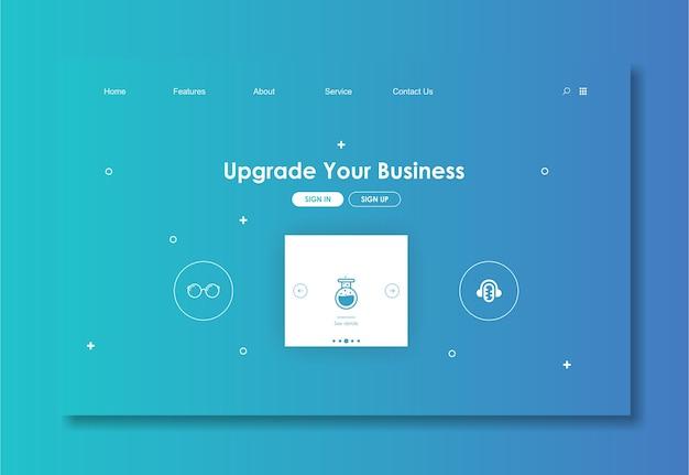 Websiteschablone mit blauem hintergrund