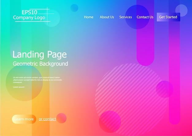 Websiteschablone mit buntem geometrischem formhintergrund