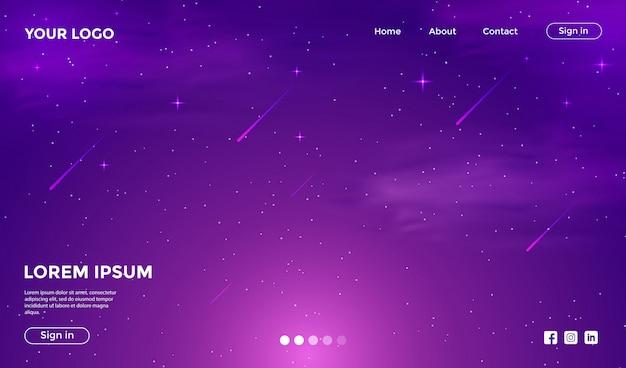 Websiteschablone mit fantastischem galaxiehintergrund