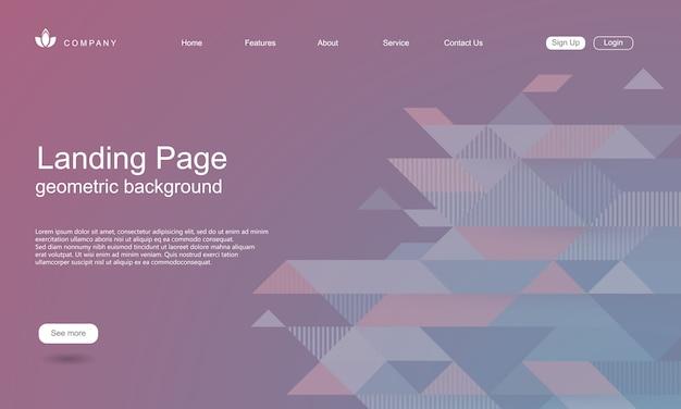 Websiteschablone mit geometrischem formhintergrund