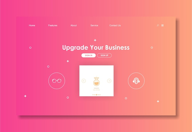 Websiteschablone mit rosa hintergrund