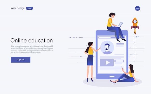 Websiteschablonenkonzept für on-line-ausbildung, training und kurse.