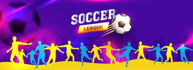 Websitetitel oder fahnendesign mit schattenbild des fußballspiels