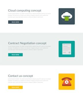 Websitetitel oder förderungsfahnenschablonen und flache ikonen entwerfen.