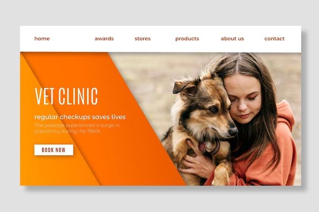 Webvorlage der landingpage der tierklinik für gesunde haustiere