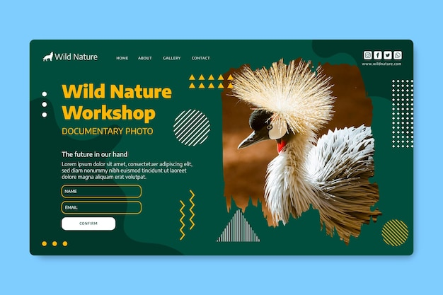 Webvorlage der wilden natur mit foto